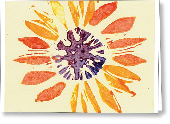Lino Paintings Greeting Cards - 60s Sunflower Greeting Card by Annie Alexander