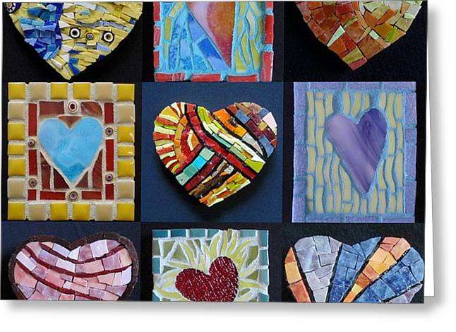 Valentine Glass Art Greeting Cards - 9 Hearts Greeting Card by Gila Rayberg