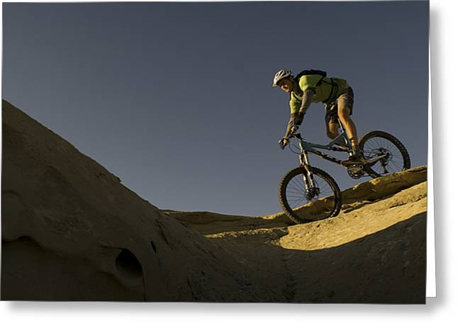 Slickrock Greeting Cards - A Caucasian Man Mountain Biking Greeting Card by Bobby Model
