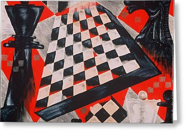 Board Game Paintings Greeting Cards - A Chess Piece Greeting Card by Shellton Tremble