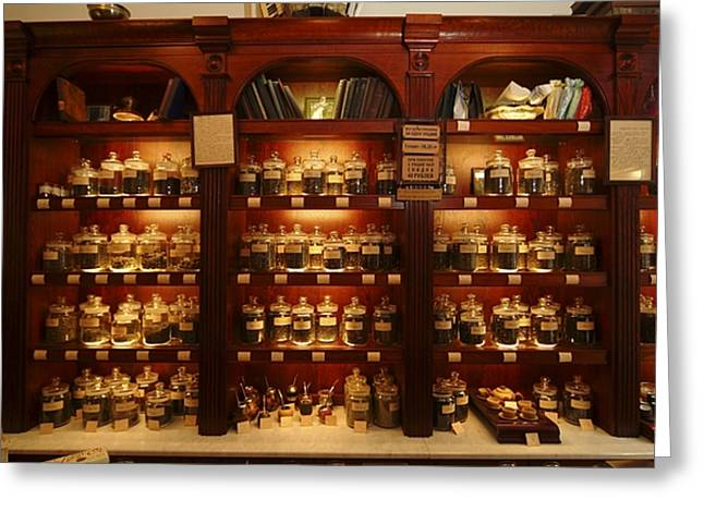 Commonwealth Greeting Cards - A Display Of Tea In A Tea Shop Greeting Card by Richard Nowitz