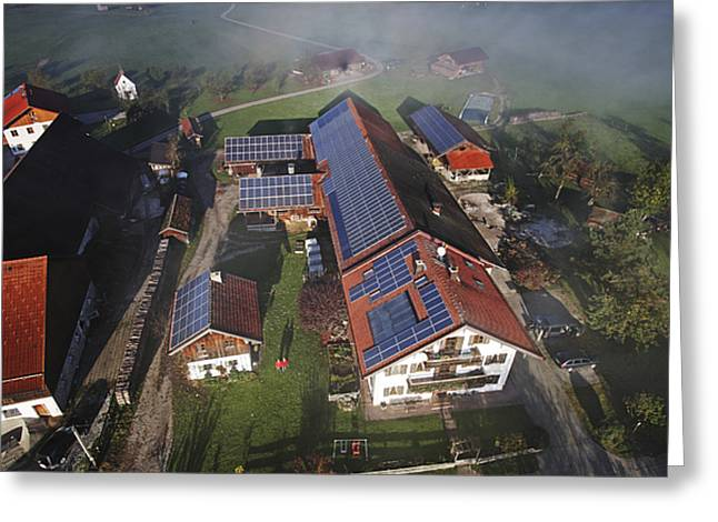 Efficiency Greeting Cards - A Farm In Bavaria With Solar Greeting Card by Michael Melford