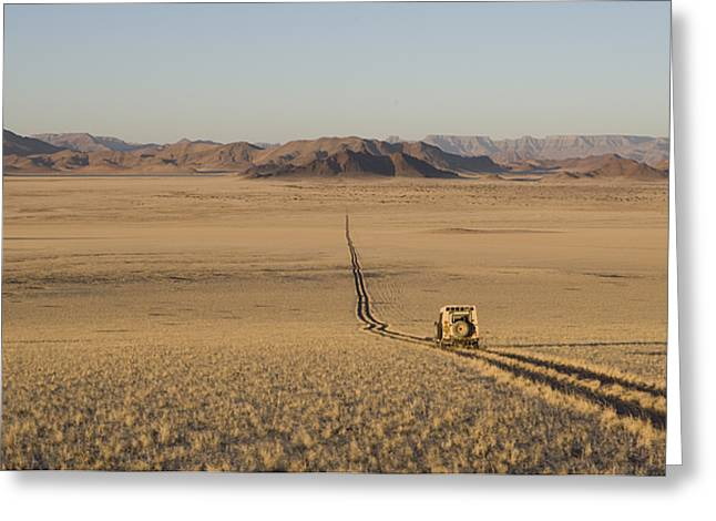 Vehicle Of Life Greeting Cards - A Land Rover On A One Lane Roadway Greeting Card by Michael Poliza