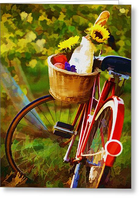 Sparkling Wines Digital Greeting Cards - A Loaf of Bread a Jug of Wine and a Bike Greeting Card by Elaine Plesser