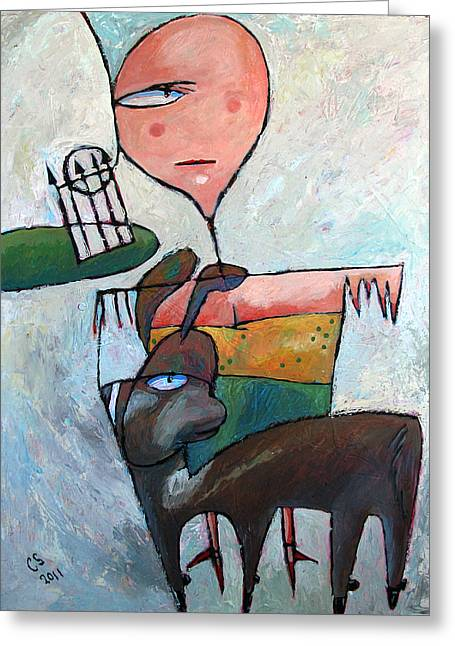 Pull Paintings Greeting Cards - A Meeting In The Park Greeting Card by Charlie Spear