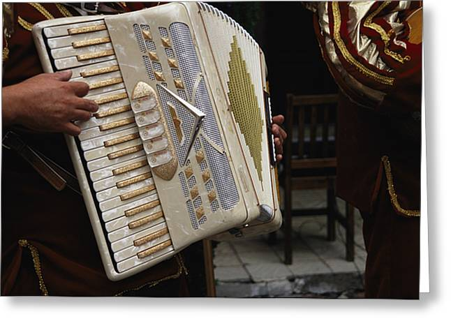 San Miguel De Allende Greeting Cards - A Mexican Musician Playing An Accordion Greeting Card by Gina Martin