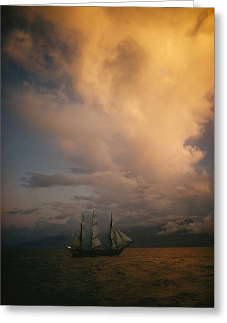 Tall Ships Greeting Cards - A Tall Ship, Sails Full Of Wind, Passes Greeting Card by Luis Marden