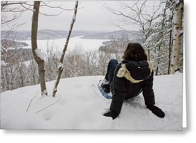 Real Face Greeting Cards - A Woman Admires A View On A Winter Day Greeting Card by Taylor S. Kennedy