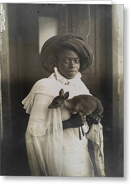 Three-quarter Length Greeting Cards - A Young Kenyan Woman Holds Her Pet Deer Greeting Card by Underwood And Underwood