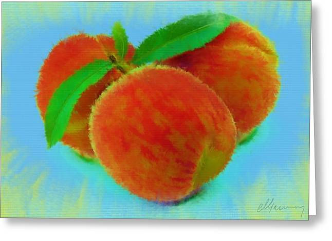 Abstract Fruit Painting Greeting Card by Michael Greenaway