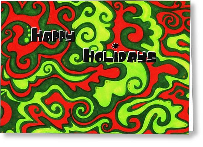 Unique Christmas Cards Greeting Cards - Abstract Happy Holidays Greeting Card by Mandy Shupp