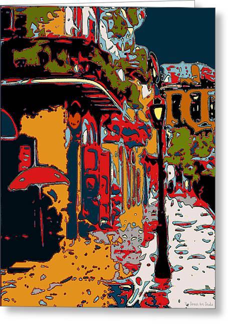 Pirates Paintings Greeting Cards - Abstract Pirates Alley Greeting Card by Jerry Schwehm