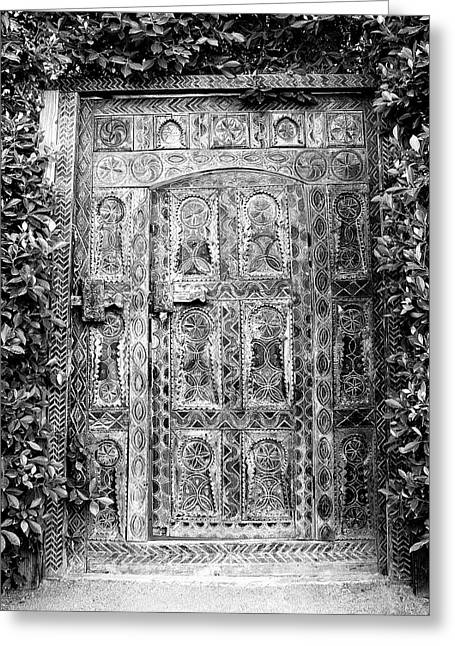 Hand Carved Greeting Cards - AFRICAN DOOR PARKER HOTEL BW Palm Springs Greeting Card by William Dey