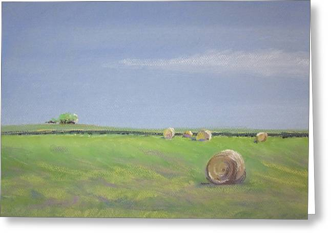 Bale Pastels Greeting Cards - Allendale Farmland Greeting Card by Sandra Strohschein
