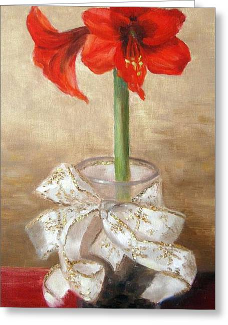 Red And Gold Greeting Cards - Amaryllis Greeting Card by Karin  Leonard