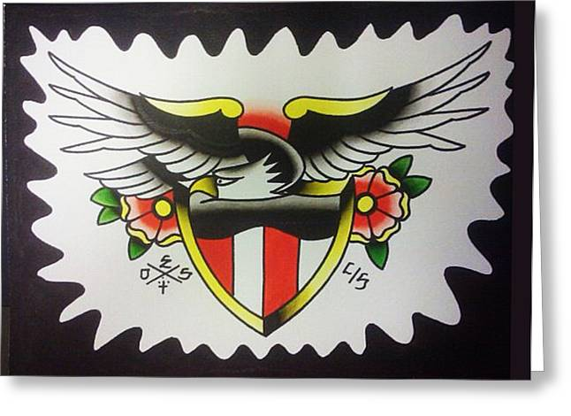 Tattoo Flash Paintings Greeting Cards - American Eagle Greeting Card by Dustin Shaw