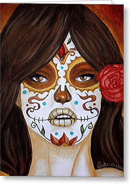 Painted Face Greeting Cards - Anhelo de su Toque  Greeting Card by Al  Molina