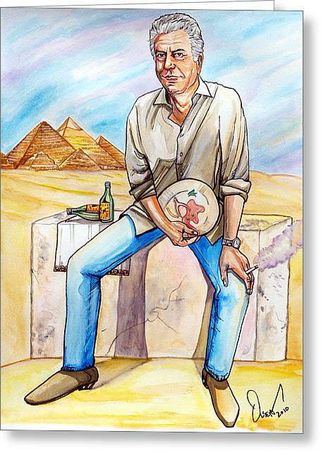 Reservations Drawings Greeting Cards - Anthony Bourdain Greeting Card by Dave Olsen