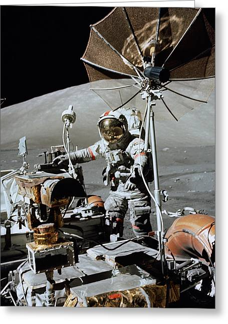 Spacesuit Greeting Cards - Apollo 17 Astronaut Approaches Greeting Card by Stocktrek Images