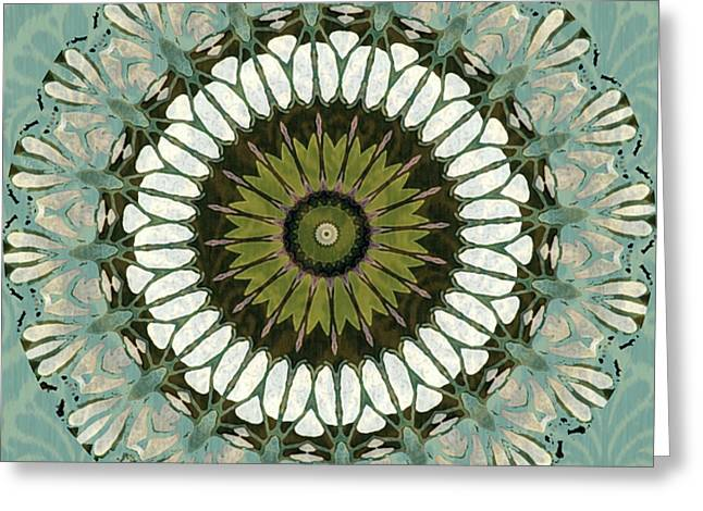 Olive Green Greeting Cards - Aquamarine Abstract Greeting Card by Bonnie Bruno