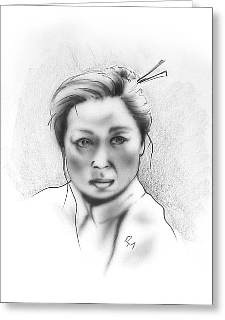 Chicano Greeting Cards - Asian Woman Greeting Card by Robert Martinez