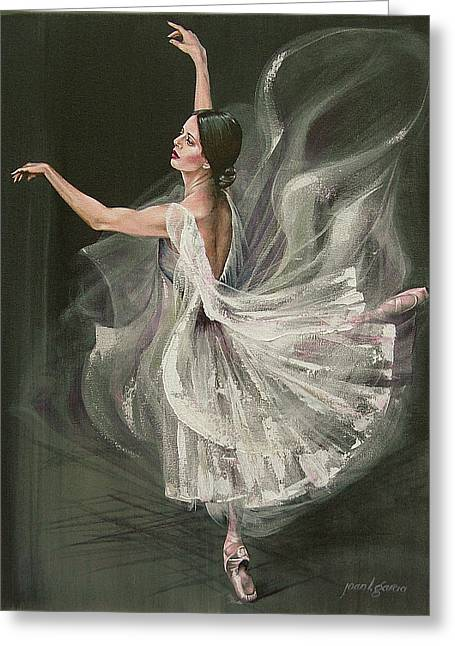 Ballet Dancers Greeting Cards - Baile Blanca Greeting Card by Joan Garcia