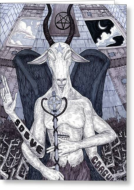 Levi Drawings Greeting Cards - Baphomet Greeting Card by Jeremy Baum