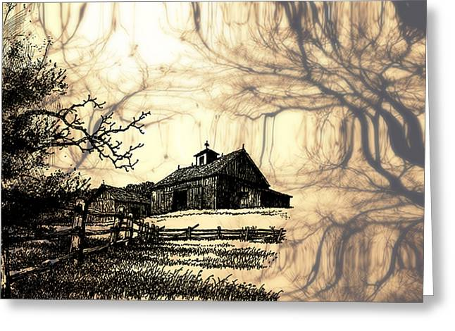 Barn Pen And Ink Greeting Cards - Barn Out Back 2 Greeting Card by Cheryl Young
