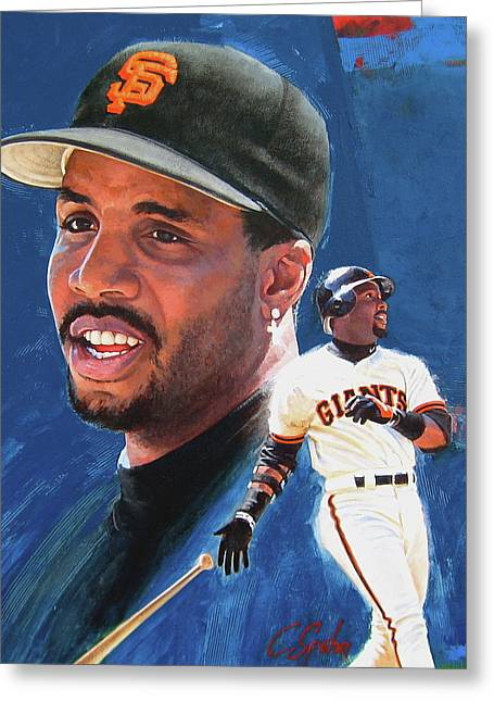 San Francisco Giants Mixed Media Greeting Cards - Barry Bonds In The Shadow Greeting Card by Cliff Spohn