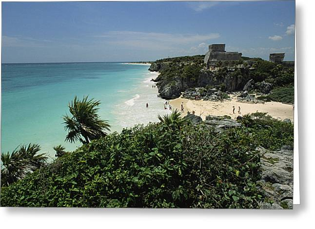 Pre Columbian Architecture And Art Greeting Cards - Beach Scene With Mayan Ruins Greeting Card by Steve Winter