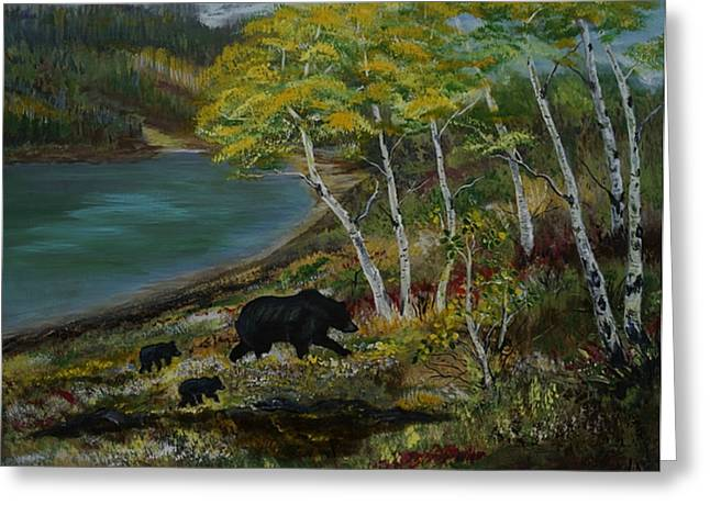 Bear Country Greeting Card by Leslie Allen