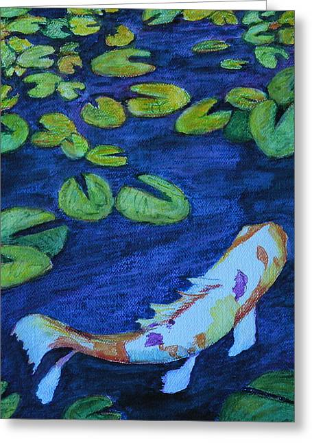 Stein Paintings Greeting Cards - Being Koi Greeting Card by Carla Stein