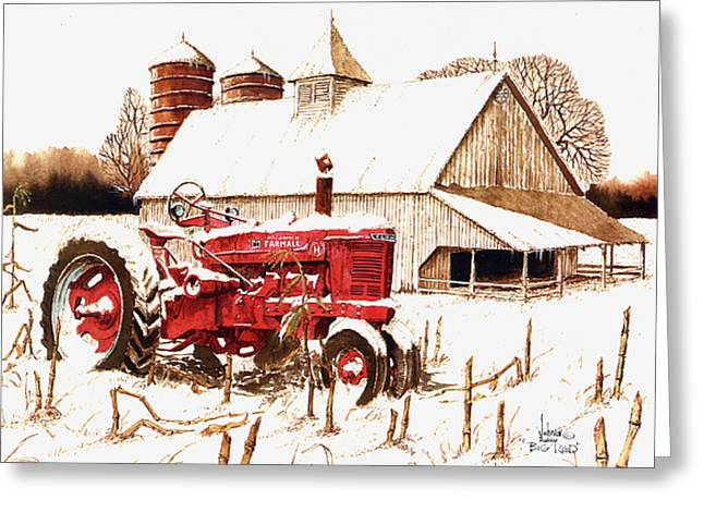 Cornfield Mixed Media Greeting Cards - Big Red Greeting Card by Larry Johnson