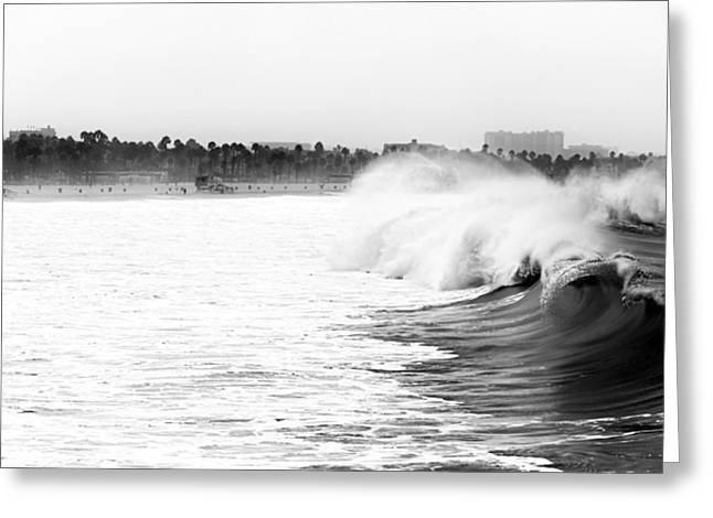 Big Surf Greeting Cards - Big Surf at Santa Monica Greeting Card by John Rizzuto