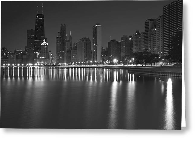 Night Scenes Greeting Cards - Black and White Chicago skyline at night Greeting Card by Sven Brogren