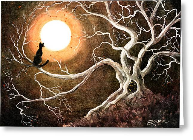 Haunted Digital Art Greeting Cards - Black Cat in a Spooky Old Tree Greeting Card by Laura Iverson