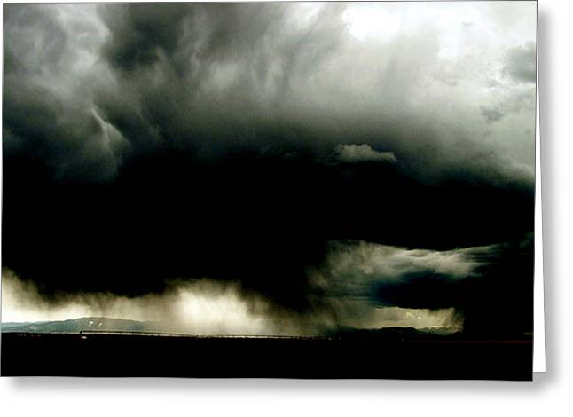 Thunderstorm Drawings Greeting Cards - Black cloud and silver lining Greeting Card by Kalen Malueg