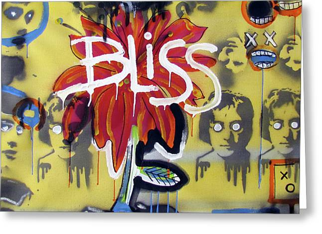 Raw Contemporary Graffiti Greeting Cards - Bliss Is The Word Greeting Card by Robert Wolverton Jr