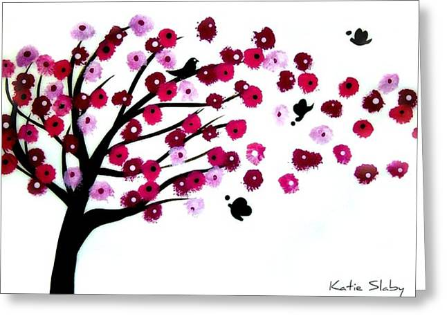 Cherry Blossoms Paintings Greeting Cards - Blowing Blossoms Greeting Card by Katie Slaby