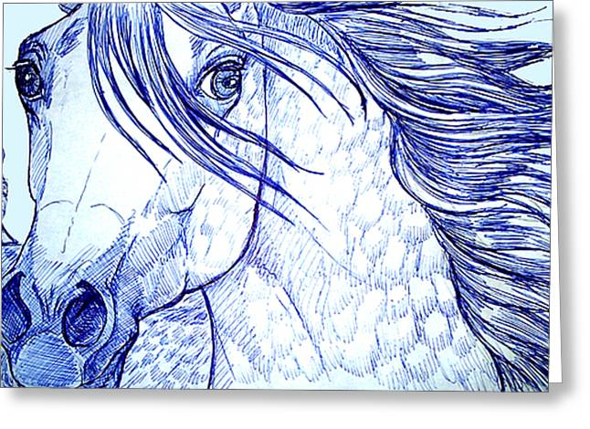 Jenn Cunningham Greeting Cards - Blue Horse Greeting Card by Jenn Cunningham