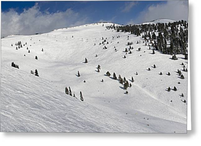 Powder Greeting Cards - Blue Sky Basin Panorama - Vail Colorado Greeting Card by Brendan Reals