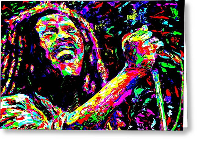 Bob Marley Greeting Card by Mike OBrien
