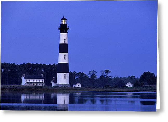 Barrier Island Greeting Cards - Bodie Island Lighthouse at Dusk - FS000607 Greeting Card by Daniel Dempster
