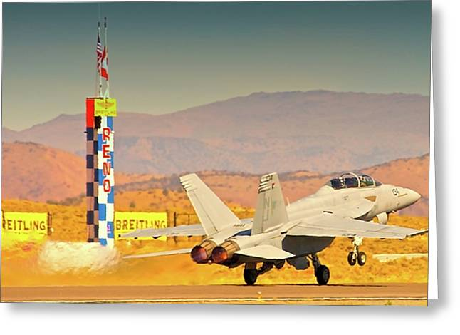 Superhornet Greeting Cards - Boeing FA18 Does Reno Greeting Card by Gus McCrea