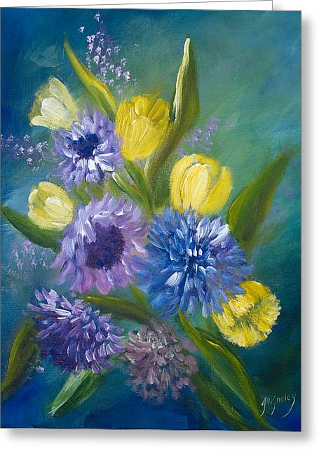 Aster Paintings Greeting Cards - Bonnie Bouquet Greeting Card by Joanne Smoley