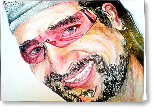 Bono In Colour Greeting Card by Pauline Murphy