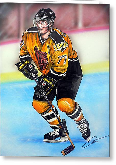 Nhl Hockey Drawings Greeting Cards - Boston Bruins Ray Bourque Greeting Card by Dave Olsen