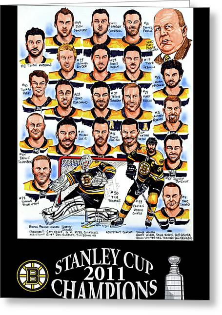 Hockey Greeting Cards - Boston Bruins Stanley Cup Champions Greeting Card by Dave Olsen