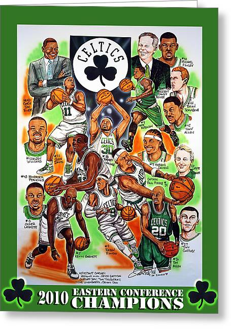 Nba Basketball Drawings Greeting Cards - Boston Celtics Eastern Conference Champions Greeting Card by Dave Olsen