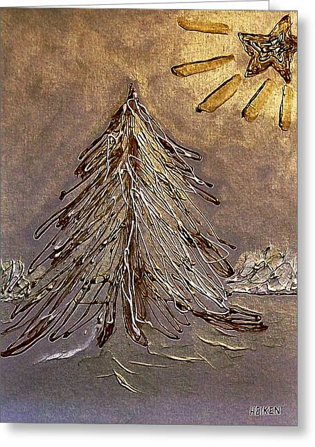 Snow Tree Prints Paintings Greeting Cards - Bright Star For Light Greeting Card by Marsha Heiken